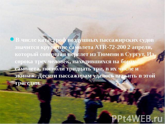 В числе катастроф воздушных пассажирских судов значится крушение самолета ATR-72-200 2 апреля, который совершал перелет из Тюмени в Сургут. Из сорока трех человек, находившихся на борту самолета, погибли тридцать три, в их числе и экипаж. Десяти пас…
