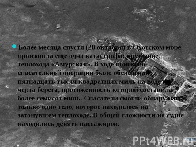 Более месяца спустя (28 октября) в Охотском море произошла еще одна катастрофа: крушение теплохода «Амурская». В ходе поисково-спасательной операции было обследовано пятнадцать тысяч квадратных миль на воде и черта берега, протяженность которой сост…