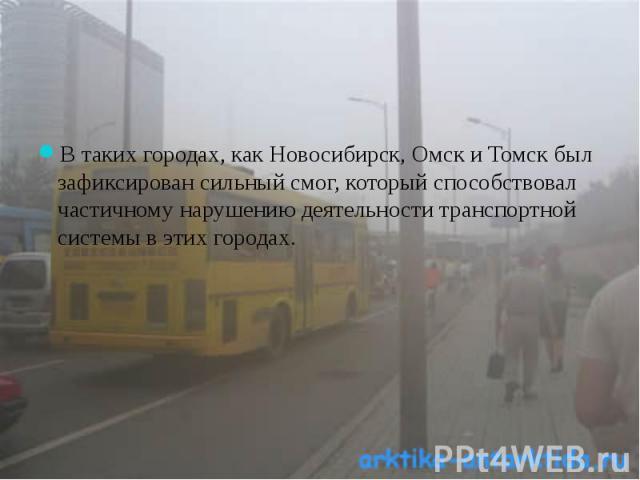 В таких городах, как Новосибирск, Омск и Томск был зафиксирован сильный смог, который способствовал частичному нарушению деятельности транспортной системы в этих городах.