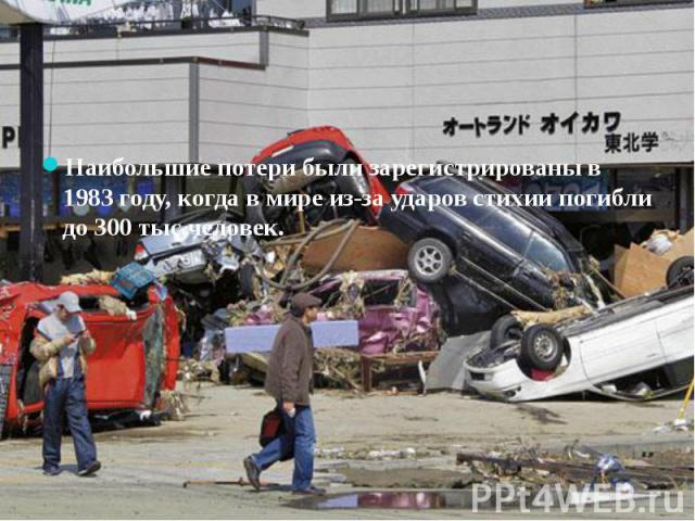 Наибольшие потери были зарегистрированы в 1983 году, когда в мире из-за ударов стихии погибли до 300 тыс человек.