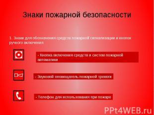 Знаки пожарной безопасности 1. Знаки для обозначения средств пожарной сигнализац