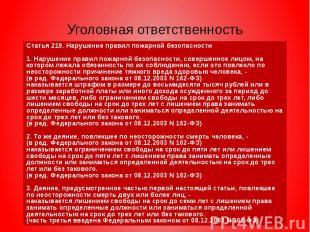 Уголовная ответственность Статья 219. Нарушение правил пожарной безопасности 1.