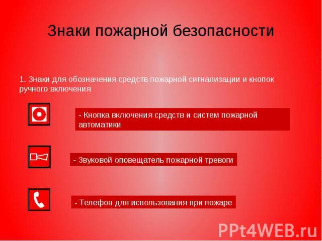 Знаки пожарной безопасности 1. Знаки для обозначения средств пожарной сигнализации и кнопок ручного включения