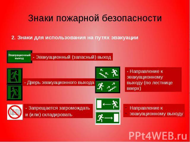 Знаки пожарной безопасности 2. Знаки для использования на путях эвакуации
