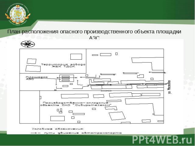 План расположения опасного производственного объекта площадки АЗС План расположения опасного производственного объекта площадки АЗС