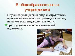 В общеобразовательных учереждениях Обучение учащихся (в виде инструктажей) прави