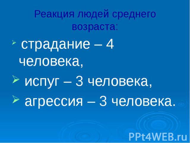 Реакция людей среднего возраста: страдание – 4 человека, испуг – 3 человека, агрессия – 3 человека.