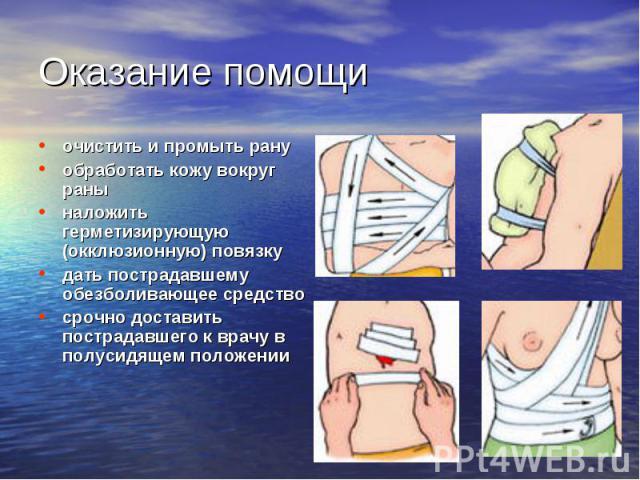 очистить и промыть рану очистить и промыть рану обработать кожу вокруг раны наложить герметизирующую (окклюзионную) повязку дать пострадавшему обезболивающее средство срочно доставить пострадавшего к врачу в полусидящем положении