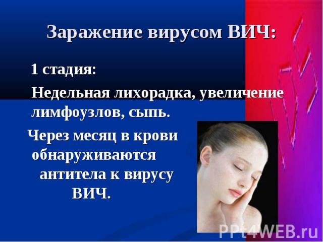 1 стадия: 1 стадия: Недельная лихорадка, увеличение лимфоузлов, сыпь. Через месяц в крови обнаруживаются антитела к вирусу ВИЧ.