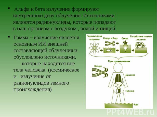 Гамма – излучение является основным ИИ внешней составляющей облучения и обусловлено источниками, которые находятся вне тела человека (космическое и излучение от радионуклидов земного происхождения) Гамма – излучение является основным ИИ внешней сост…