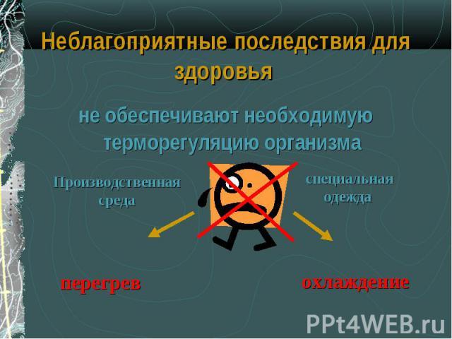 не обеспечивают необходимую терморегуляцию организма не обеспечивают необходимую терморегуляцию организма