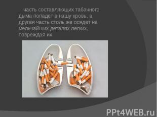часть составляющих табачного дыма попадет в нашу кровь, а другая часть столь же