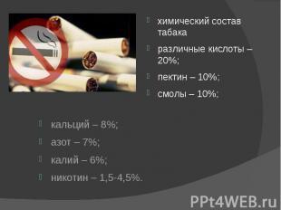 кальций – 8%; азот – 7%; калий – 6%; никотин – 1,5-4,5%.