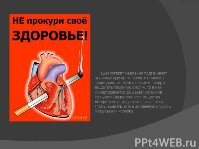 Дым сигарет медленно подтачивает здоровье курящего. Ученые приводят такие данные: если из тысячи папирос выделить табачную смолку, то в ней обнаруживается до 2 миллиграммов сильного канцерогенного вещества, которого вполне достаточно для того, чтобы…