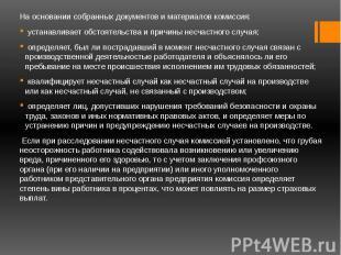 На основании собранных документов и материалов комиссия: На основании собранных