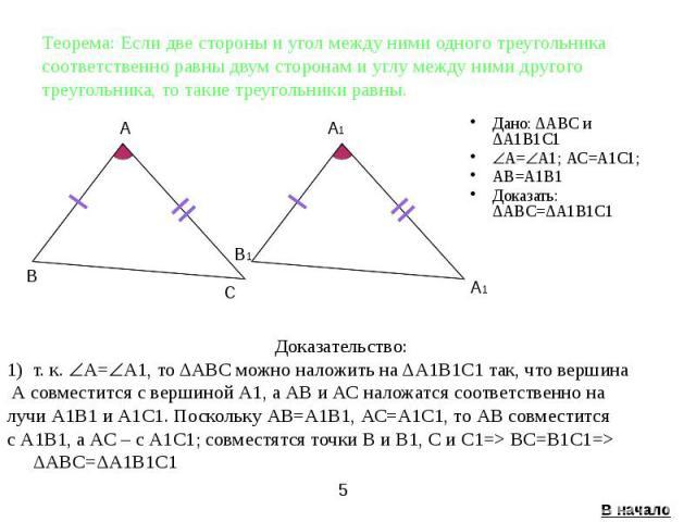 Теорема: Если две стороны и угол между ними одного треугольника соответственно равны двум сторонам и углу между ними другого треугольника, то такие треугольники равны. Дано: ΔАВС и ΔА1В1С1 А= А1; АС=А1С1; AВ=А1В1 Доказать: ΔАВС=ΔА1В1С1