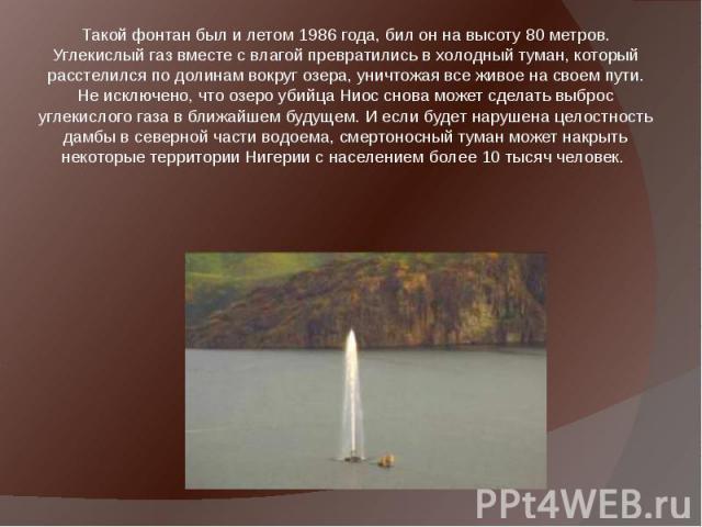 Такой фонтан был и летом 1986 года, бил он на высоту 80 метров. Углекислый газ вместе с влагой превратились в холодный туман, который расстелился по долинам вокруг озера, уничтожая все живое на своем пути. Не исключено, что озеро убийца Ниос снова м…