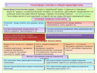 Техносфера (техногенная среда) – элементы окружающей среды, созданные из природн
