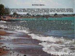 БАЛХАШ: факты… За последние годы площадь поверхности озера сократилась на 2 тыс.