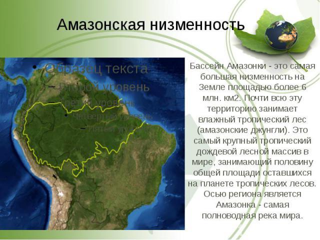 Бассейн Амазонки - это самая большая низменность на Земле площадью более 6 млн. км2. Почти всю эту территорию занимает влажный тропический лес (амазонские джунгли). Это самый крупный тропический дождевой лесной массив в мире, занимающий половину общ…