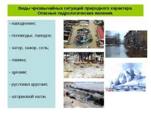 - наводнение; - наводнение; - половодье, паводок; - затор, зажор, сель; - лавина