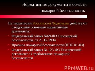 Нормативные документы в области пожарной безопасности. На территории Российской