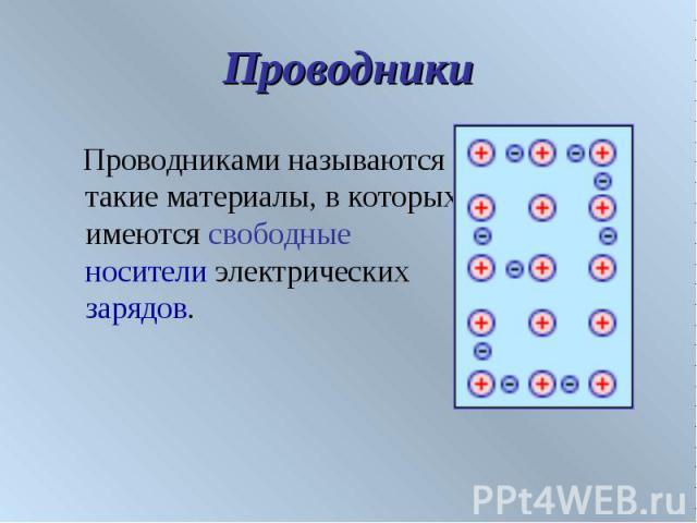 Проводники Проводниками называются такие материалы, в которых имеются свободные носители электрических зарядов.