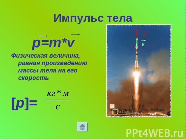 Импульс тела p=m*v Физическая величина, равная произведению массы тела на его скорость [p]=