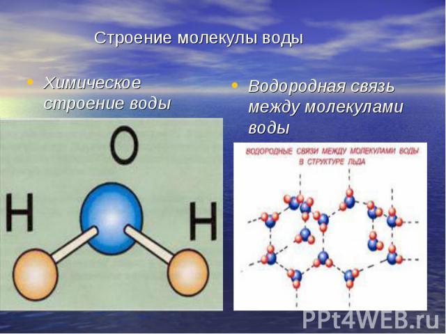 Строение молекулы воды Химическое строение воды