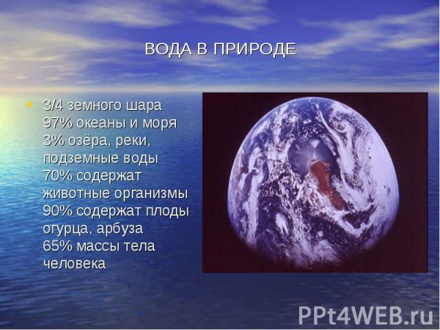 ВОДА В ПРИРОДЕ 3/4 земного шара 97% океаны и моря 3% озёра, реки, подземные воды 70% содержат животные организмы 90% содержат плоды огурца, арбуза 65% массы тела человека