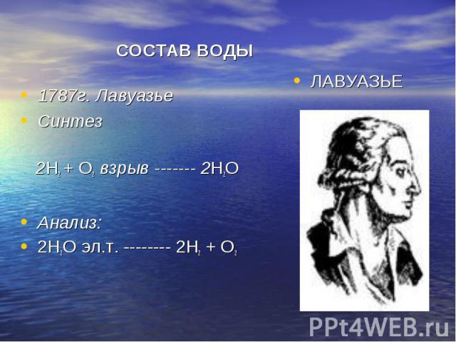 СОСТАВ ВОДЫ 1787г. Лавуазье Синтез 2Н2 + О2 взрыв ------- 2Н2О Анализ: 2Н2О эл.т. -------- 2Н2 + О2