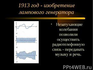1913 год - изобретение лампового генератора Незатухающие колебания позволили осу