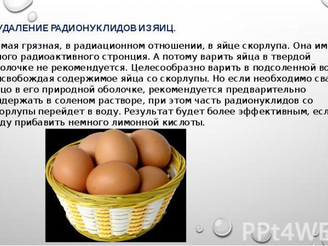 УДАЛЕНИЕ РАДИОНУКЛИДОВ ИЗ ЯИЦ. УДАЛЕНИЕ РАДИОНУКЛИДОВ ИЗ ЯИЦ. Самая грязная, в радиационном отношении, в яйце скорлупа. Она имеет много радиоактивного стронция. А потому варить яйца в твердой оболочке не рекомендуется. Целесообразно варить в подсоле…