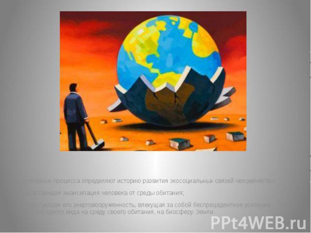 Два главных процесса определяют историю развития экосоциальных связей человечества: Два главных процесса определяют историю развития экосоциальных связей человечества: - нарастающая эмансипация человека от среды обитания; - нарастающая его энерговоо…