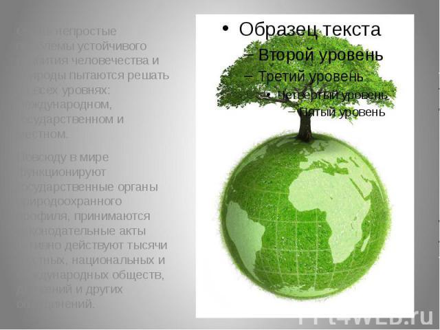 Очень непростые проблемы устойчивого развития человечества и природы пытаются решать на всех уровнях: международном, государственном и местном. Очень непростые проблемы устойчивого развития человечества и природы пытаются решать на всех уровнях: меж…