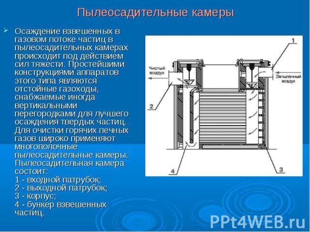 Осаждение взвешенных в газовом потоке частиц в пылеосадительных камерах происходит под действием сил тяжести. Простейшими конструкциями аппаратов этого типа являются отстойные газоходы, снабжаемые иногда вертикальными перегородками для лучшего осажд…