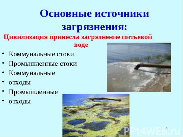 Цивилизация принесла загрязнение питьевой воде Цивилизация принесла загрязнение питьевой воде Коммунальные стоки Промышленные стоки Коммунальные отходы Промышленные отходы