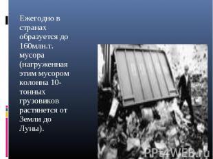 Ежегодно в странах образуется до 160млн.т. мусора (нагруженная этим мусором коло