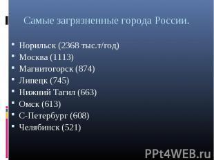 Норильск (2368 тыс.т/год) Норильск (2368 тыс.т/год) Москва (1113) Магнитогорск (