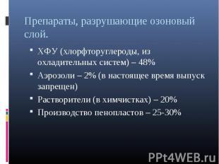 ХФУ (хлорфторуглероды, из охладительных систем) – 48% ХФУ (хлорфторуглероды, из