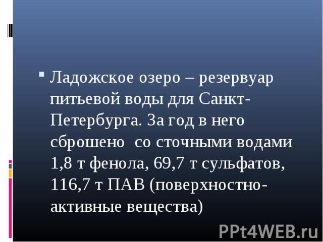 Ладожское озеро – резервуар питьевой воды для Санкт-Петербурга. За год в него сброшено со сточными водами 1,8 т фенола, 69,7 т сульфатов, 116,7 т ПАВ (поверхностно-активные вещества) Ладожское озеро – резервуар питьевой воды для Санкт-Петербурга. За…
