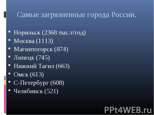 Норильск (2368 тыс.т/год) Норильск (2368 тыс.т/год) Москва (1113) Магнитогорск (874) Липецк (745) Нижний Тагил (663) Омск (613) С-Петербург (608) Челябинск (521)