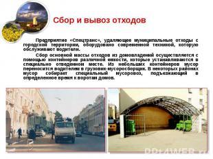Сбор и вывоз отходов Предприятие «Спецтранс», удаляющее муниципальные отходы с г