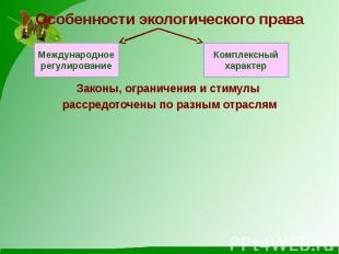 Особенности экологического права Законы, ограничения и стимулы рассредоточены по