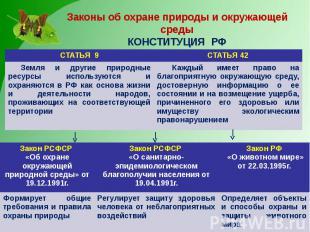 Законы об охране природы и окружающей среды КОНСТИТУЦИЯ РФ