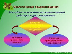 Экологические правоотношения Все субъекты экологических правоотношений действуют