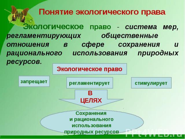 Понятие экологического права Экологическое право - система мер, регламентирующих общественные отношения в сфере сохранения и рационального использования природных ресурсов.