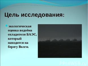 экологическая оценка водоёма охладителя БАЭС, который находится на берегу Волги.