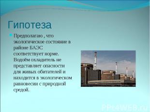 Предполагаю , что экологическое состояние в районе БАЭС соответствует норме. Вод