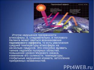 Итогом нарушения прозрачности атмосферы, а, следовательно, и теплового баланса м